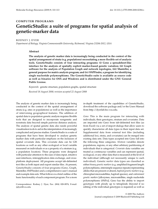 Dyer RJ. 2009 GeneticStudio: a suite of programs for spatial analysis of genetic-marker data. Molecular Ecology Resources, 9 110-113.